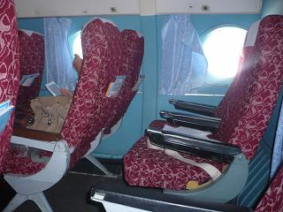The passenger seats in the plane An-24 airlines Pskovavia