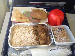 Food on the flight from Moscow to Tbilisi airlines Georgian Airways
