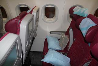 Кресла экономического класса в самолете Airbus A320 Катарских авиалиний