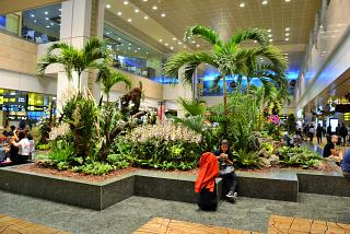 In terminal 2 of Changi airport in Singapore