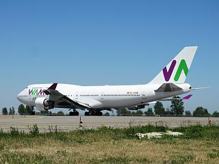 The run of Boeing-747-400 EI-KSM airline Wamos Air at Boryspil airport