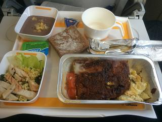 Flight meals on the flight from Moscow to Frankfurt Lufthansa