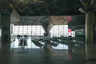 The waiting hall in a clean area of the international departures terminal A of Vnukovo airport