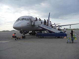 Boarding the plane Sukhoi Superjet 100 Aeroflot