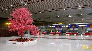 The area of registration of passengers of the 1st class and business class Air China in T3 of Beijing Capital airport