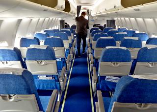 "The passenger cabin of the aircraft Sukhoi Superjet-100 of the airline ""Iraero"""