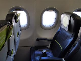 The seat of an economy class passenger in the Airbus A321neo of S7 Airlines