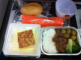 Food on the flight Los Angeles-Moscow Aeroflot