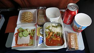 The second meal on a flight of Aeroflot Moscow-Havana