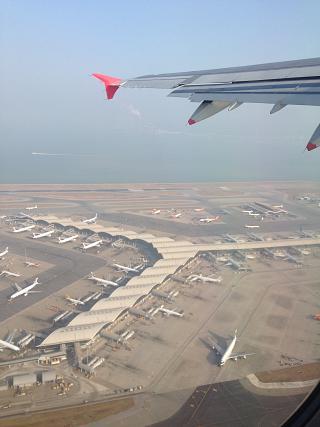 Views of Hong Kong international airport during takeoff
