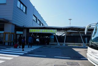 The entrance to the arrivals area at the airport of Salento Brindisi