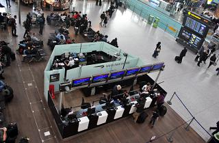 Information Desk British Airways in terminal Т5А of London Heathrow airport