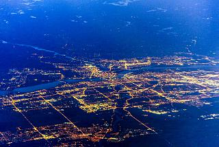 Вид из самолета на столицу Канады Оттаву