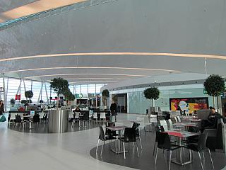 The food court in the clean zone of terminal 2 of Budapest airport