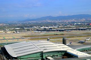 Takeoff over the airport El Prat in Barcelona