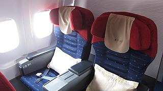 Business class on the plane Tu-204-100 flight on Air Koryo