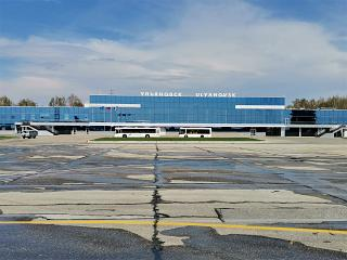 View from the apron to the passenger terminal of Ulyanovsk Baratayevka airport