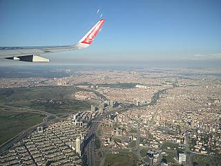 The suburbs of Istanbul during takeoff from Ataturk airport