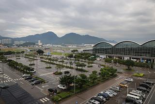 Views of airport Hong Kong road overpass near terminal 1