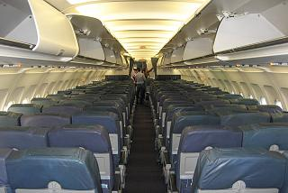 The cabin of the Airbus A319 TAP Portugal