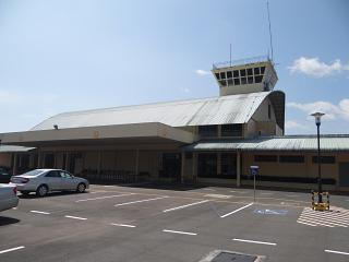 The terminal and control tower of the airport of Sihanoukville