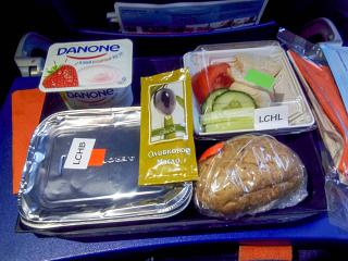 The catering meal on the Aeroflot flight Omsk-Moscow