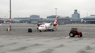 The plane ATR 42 of Czech airlines at Prague airport Vaclav Havel