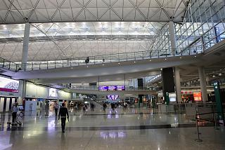 The lower arrival level in terminal 1 Hong Kong airport