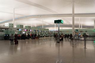 The check-in area at terminal T1 Barcelona airport