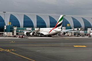 Emirates Airbus A380 at the gate in Dubai airport