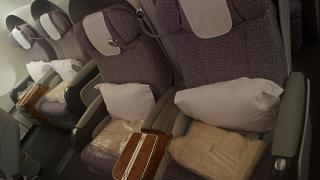 Business class in the Airbus A340-500 of Emirates airlines