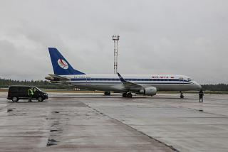 "The Embraer 175 aircraft of the airline ""Belavia"" in Minsk airport"