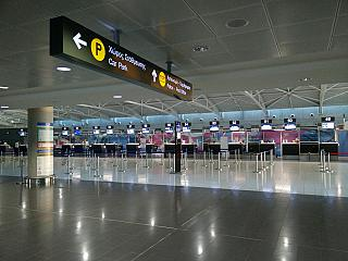 The check-in area for departing flights to Larnaca airport