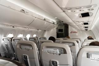 In the cabin of the Bombardier CS100 SWISS