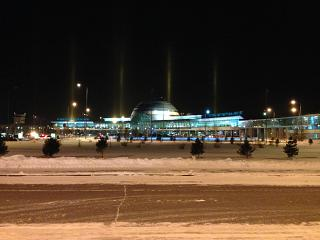 The terminal of the airport of Astana from the forecourt