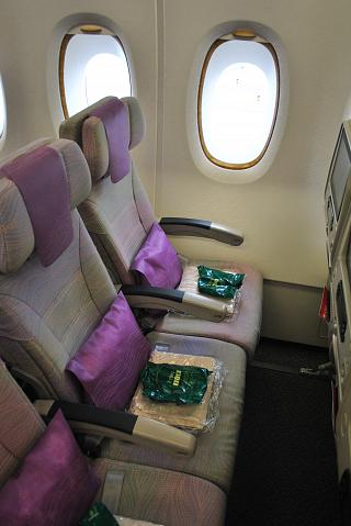 Seats in economy class in Airbus A380 of Emirates airlines