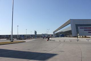 The terminal and Aeroexpress train station of the airport Vladivostok