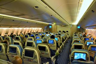 Salon of economy class in Boeing 777-300s from Singapore airlines