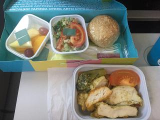 In-flight meals on the S7 Airlines flight Novosibirsk-Bangkok
