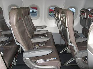The passenger seats in the aircraft Airbus A320 Niki