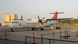The plane ATR of 72 airlines Island Air Honolulu airport