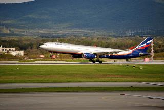 The Airbus A330-300 of Aeroflot landing at the airport of Vladivostok