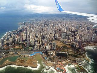 City view Beirut before landing at the airport