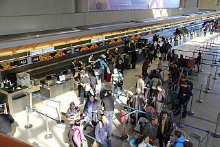 Registration for the Aeroflot flight in the international terminal of airport Los Angeles