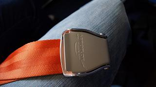 The Aeroflot logo on the belt buckle