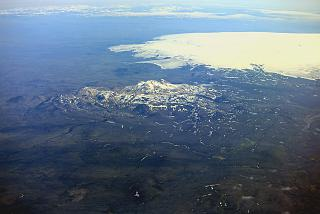 In flight over Iceland