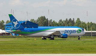 The Boeing-767-300 of the airline Pegas Fly at the airport of Irkutsk