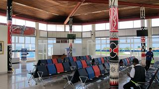 The waiting room on the second floor of the sterile area of the airport Pattimura