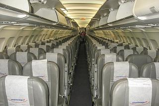 The passenger cabin of the Airbus A320 reg. TS-INP of the airline Nouvelair