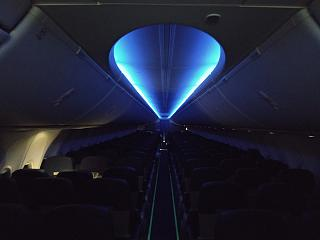 Night lighting of the cabin in the Boeing-737-800 Ukraine International Airlines